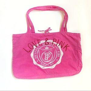 Pink Victoria's Secret love white large tote bag